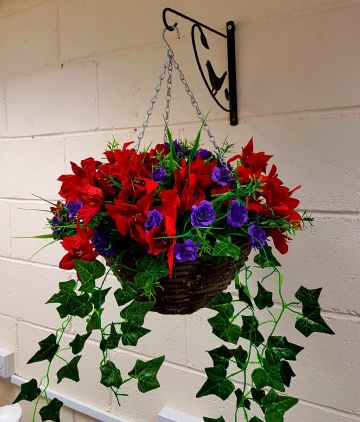 Rose & Poinsettia Christmas Hanging Basket - Purple Handmade